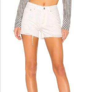 White Denim Distressed High Rise Shorts